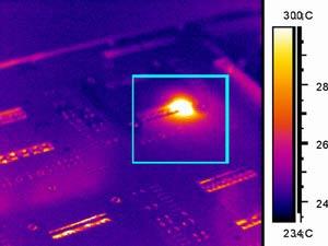 Перегрев печатной платы - детекция тепловизором Testo 880