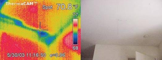 Протечка потолка в спальне - детекция тепловизором Testo 880