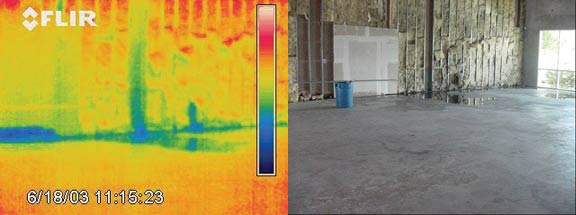 сырая стена после пожара - тепловизор Testo 880