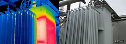 Холодные охлаждающие рёбра вследствие низкого уровня масла в трансформаторе - тепловизор Testo 880