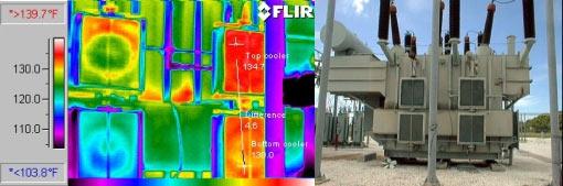 радиаторы трансформатора - обследование тепловизором Testo 880