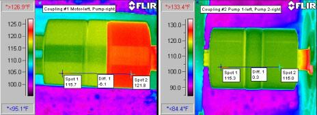 Несоосность муфты - детекция тепловизором Testo 880