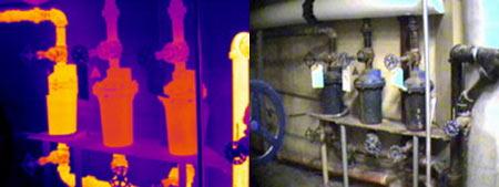 Утечка из конденсационного горшка - детекция тепловизором Testo 880