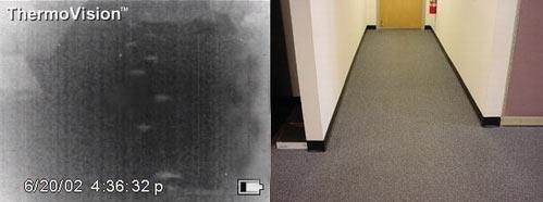 Тепловизионное изображение отпечатков ног