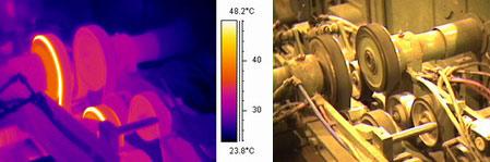 Перегрев ременной передачи - детекция тепловизором Testo 880