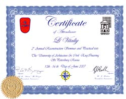 CERTIFICATE of attendance - Li Vitaliy - 2nd Annual Reconstruction Seminar and Practical Tests - The University of Architecture and Civil Engineering